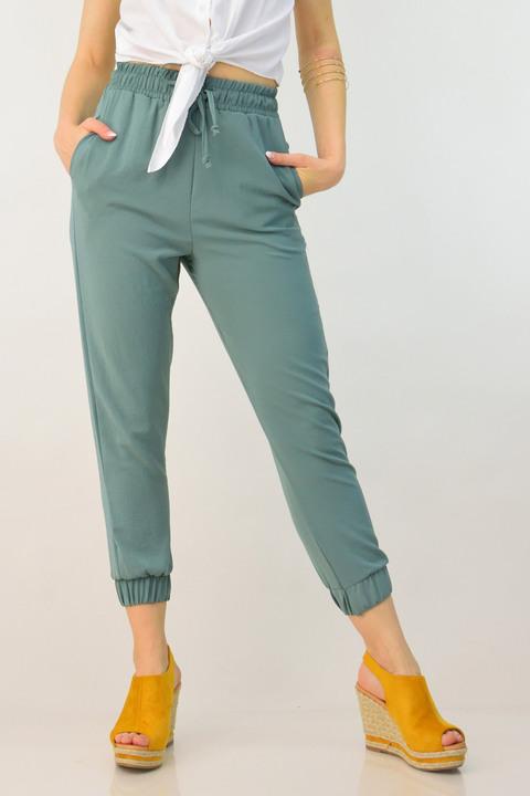 Γυναικείο παντελόνι με λάστιχο - Χακί