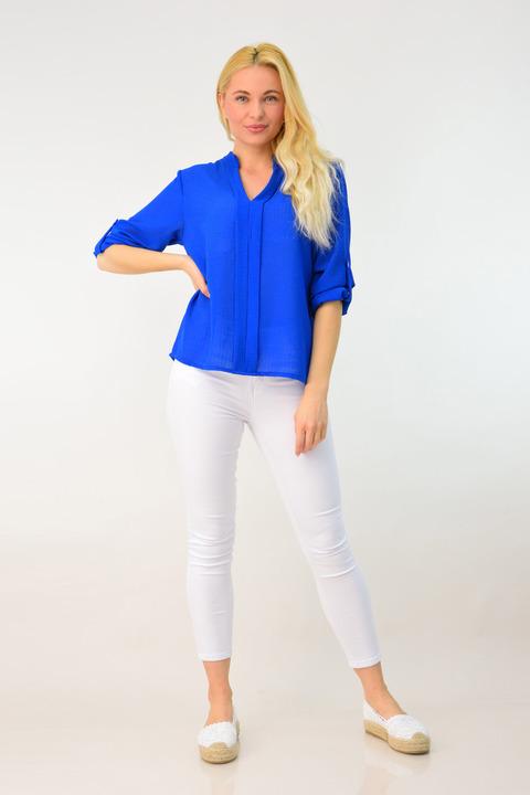 Γυναικεία αέρινη ημιδιάφανη πουκαμίσα - Μπλε Ρουά