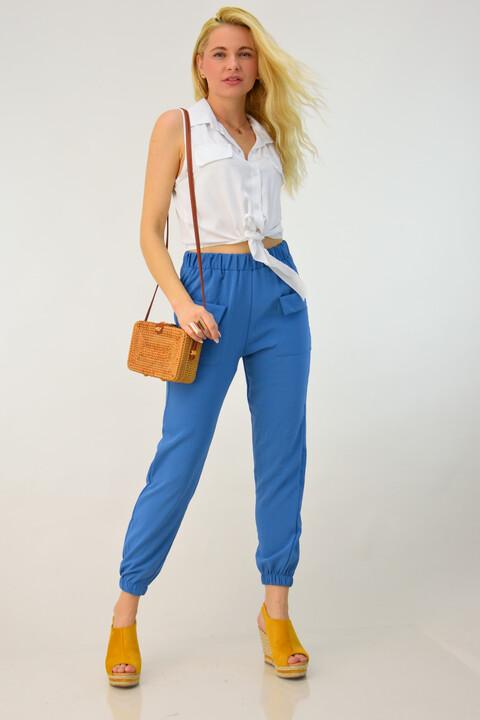 Γυναικείο παντελόνι loose με λάστιχο - Γαλάζιο