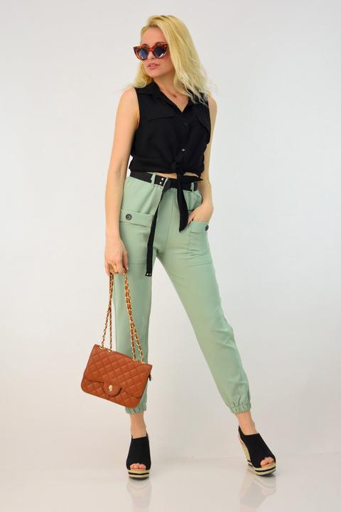Γυναικείο παντελόνι με λάστιχο και ζώνη - Χακί