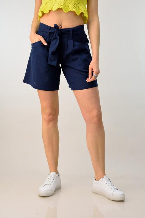 Λινό παντελόνι σορτς - Μπλε Σκούρο