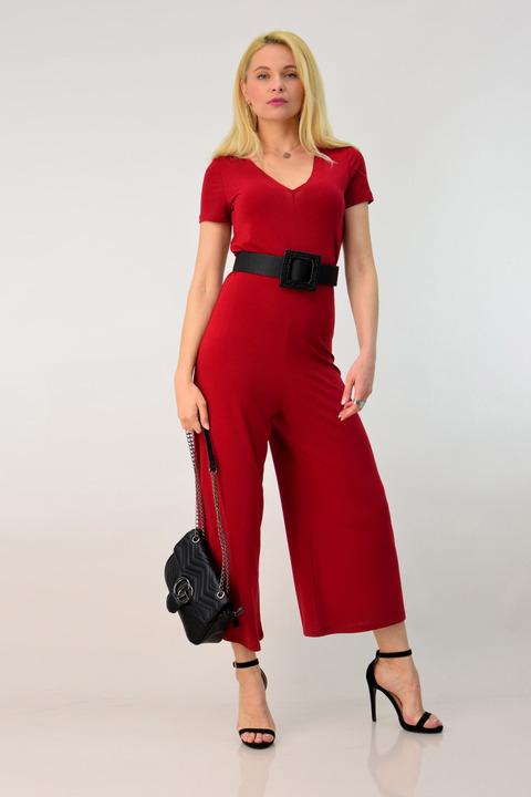 Ολόσωμη φόρμα κρεπ μος - Κόκκινο