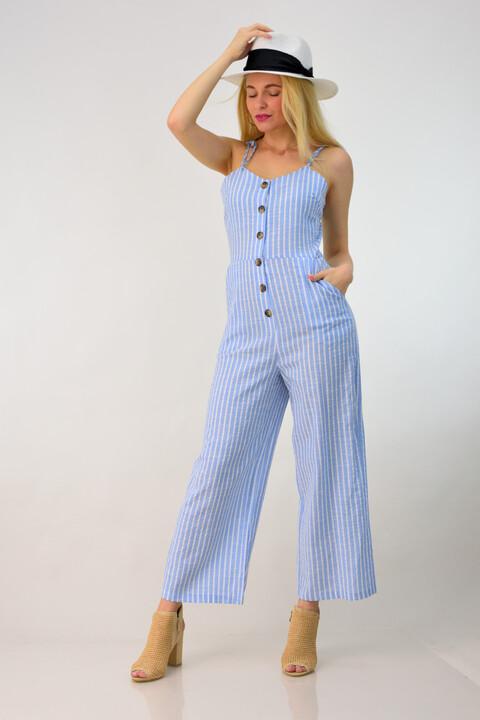 Ολόσωμη φόρμα λινή ριγέ - Γαλάζιο