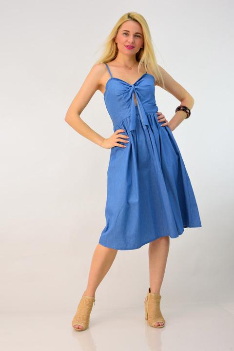 Φόρεμα τζιν με φιόγκο - Μπλε Τζιν