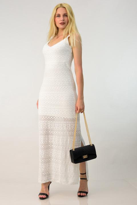 Φόρεμα πλεκτό μάξι - Λευκό