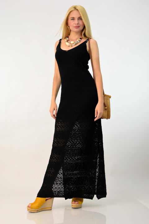Φόρεμα πλεκτό μάξι - Μαύρο