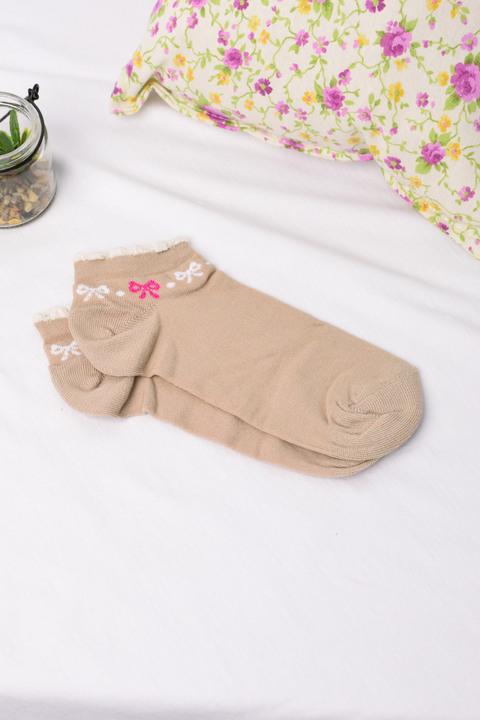 Γυναικείες κάλτσες με φιογκάκι - Μπεζ