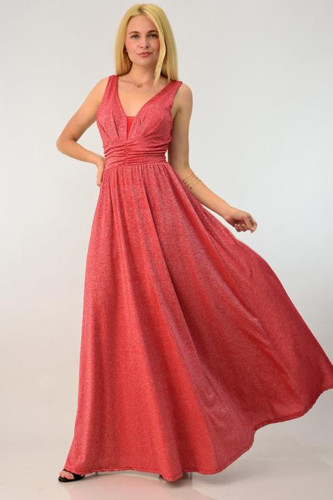 Μακρύ φόρεμα μεταλιζέ - Κόκκινο