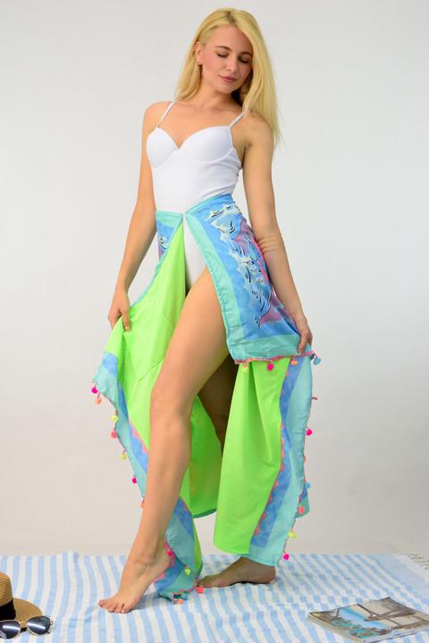 Παρεό πετσέτα διπλής όψης  - Γαλάζιο