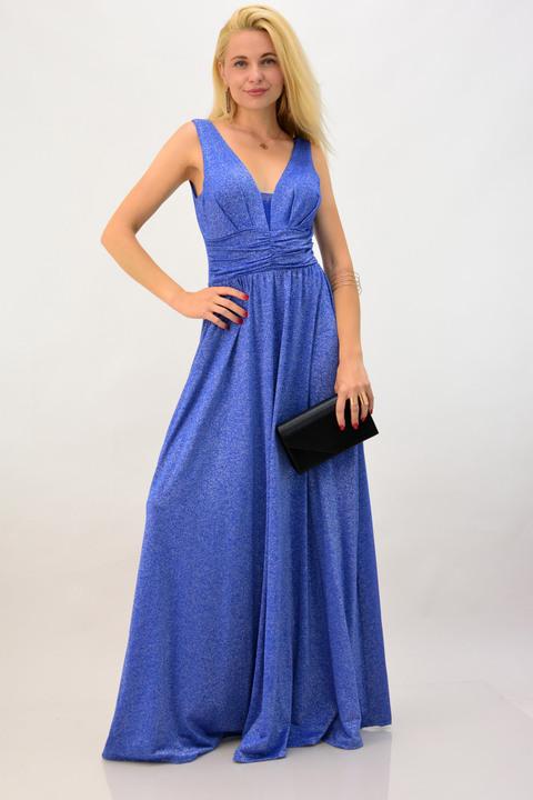 Φόρεμα για γάμο μεταλιζέ - Μπλε Ρουά