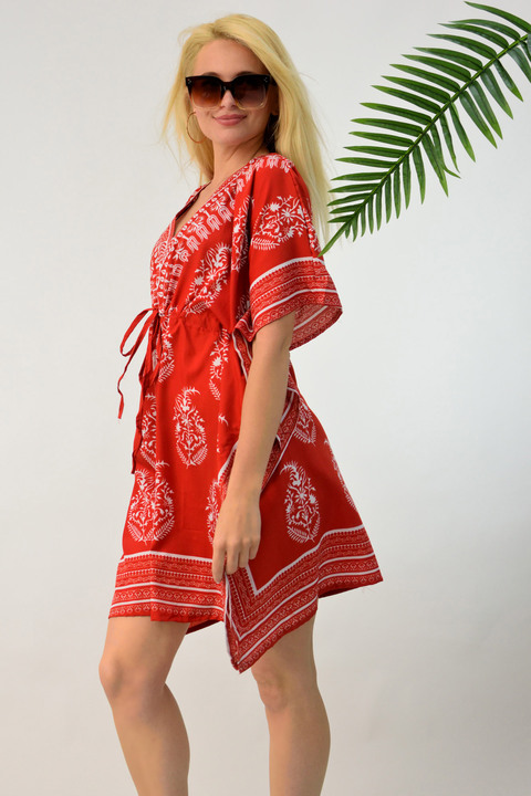 Φόρεμα κιμονό θαλάσσης - Κόκκινο