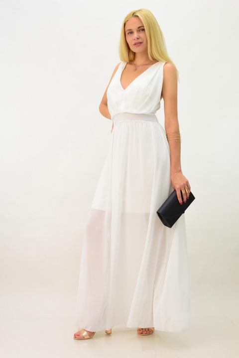 Μακρύ φόρεμα επίσημο με ημιδιαφάνεια - Λευκό