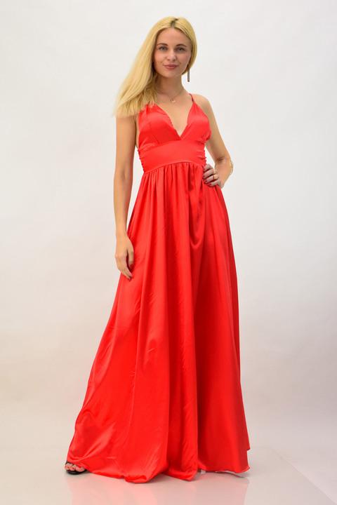 Μακρύ φόρεμα σατέν - Κόκκινο
