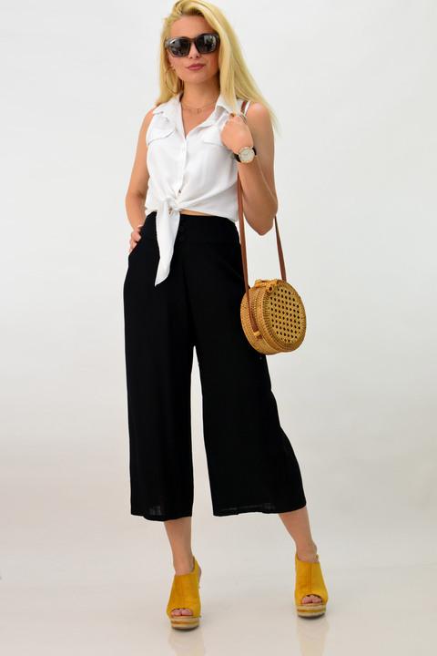Λινή παντελόνα με κουμπιά -