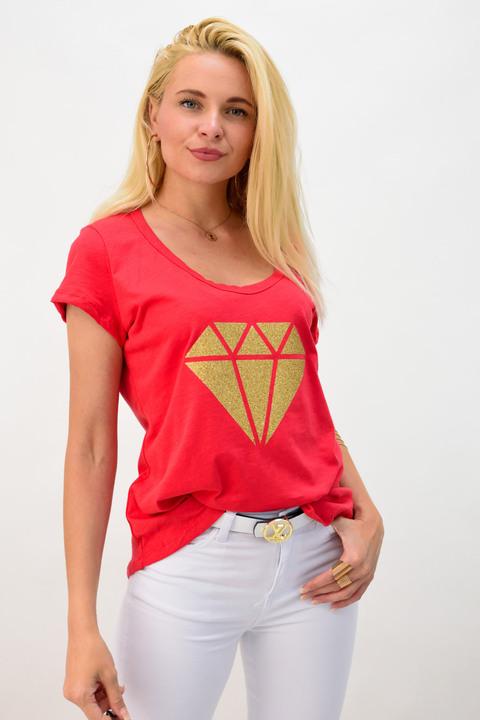 Μπλουζάκι με τύπωμα διαμάντι - Κόκκινο