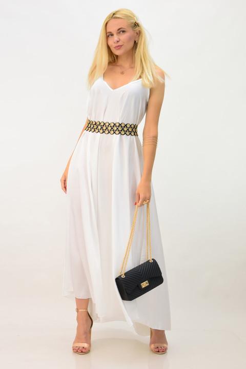 Λευκό φόρεμα σατέν - Λευκό
