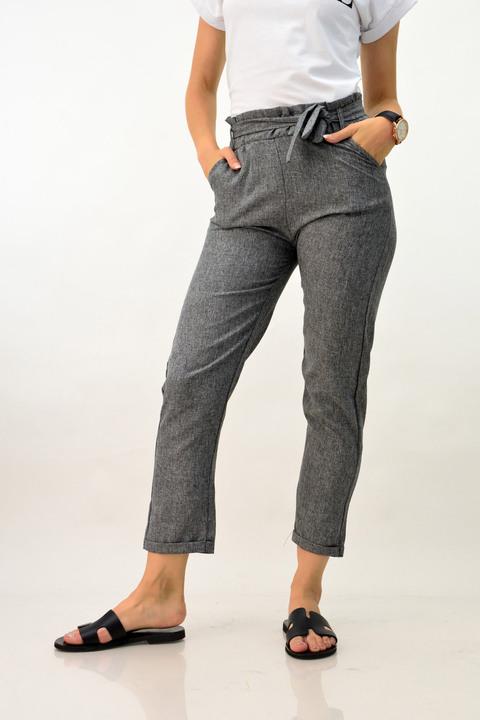 Λινό παντελόνι ψηλόμεσο - Ανθρακί