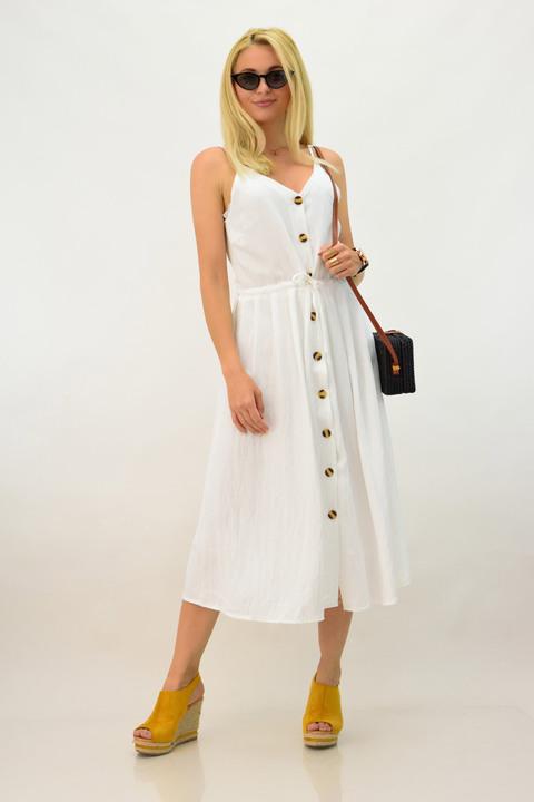 Λινό μίντι φόρεμα με κουμπιά - Λευκό