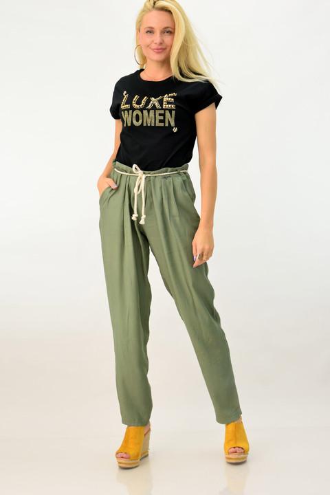 Γυναικεία παντελόνα loose με ζώνη - Χακί