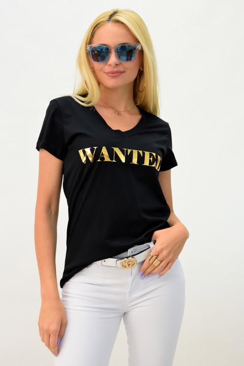Γυναικείο μπλουζάκι wanted - Μαύρο