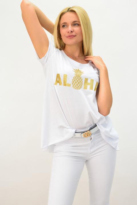 Μπλούζα λευκή aloha - Λευκό