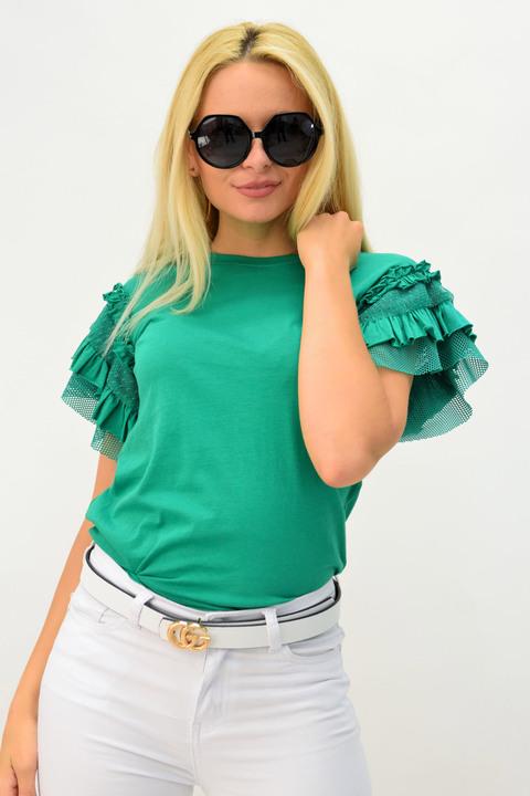 Μπλούζα πράσινη με βολάν - Πράσινο