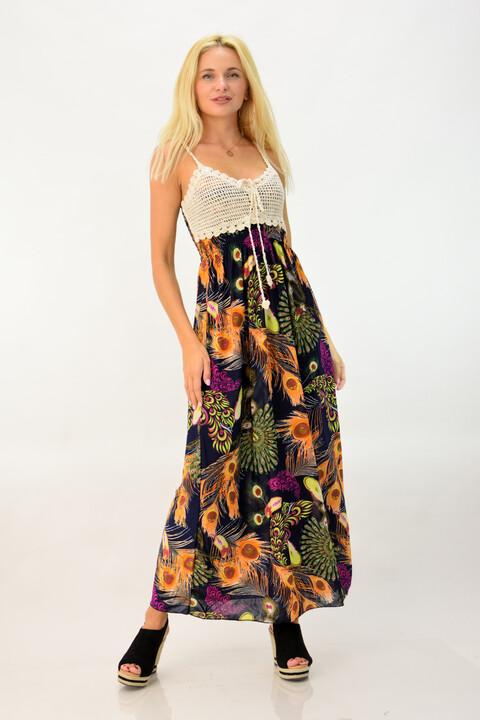 Φόρεμα φλοράλ με πλεκτό τοπ - Μαύρο