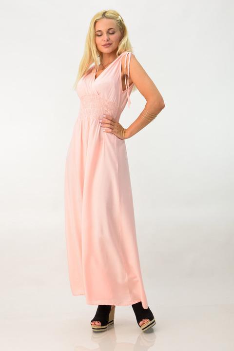 Γυναικείο αέρινο φόρεμα - Σομόν