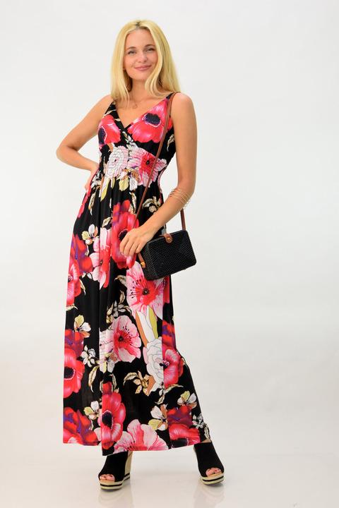 Φλοράλ φόρεμα μακρύ - Μαύρο