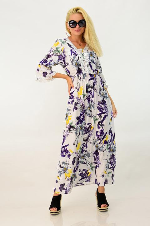 Φλοράλ φόρεμα με μακρύ μανίκι - Λευκό