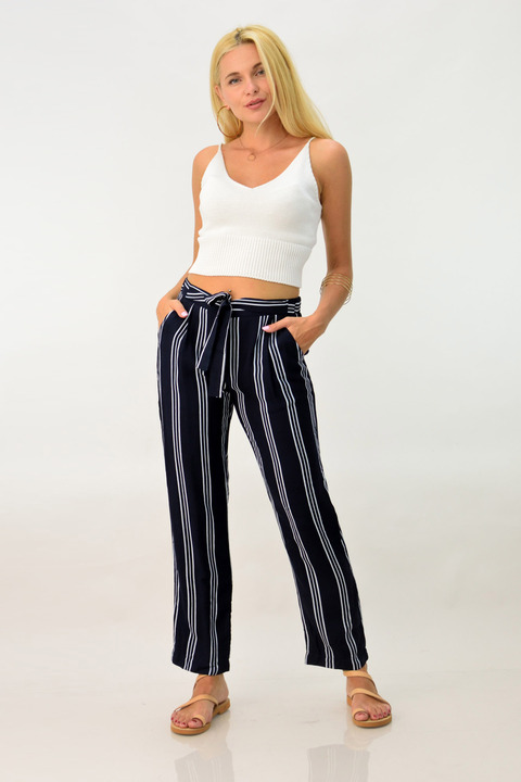 Γυναικεία παντελόνα ριγέ με φυσική βισκόζη - Μπλε Σκούρο