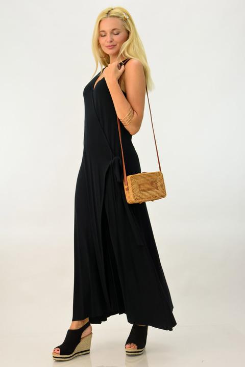 Maxi φόρεμα με ζώνη - Μαύρο