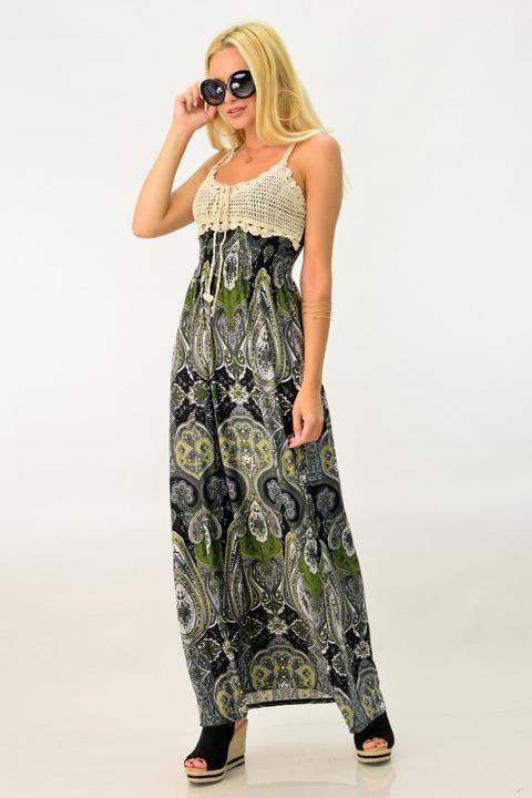 Γυναικείο φόρεμα εμπριμέ με πλεκτό τοπ - Λαδί