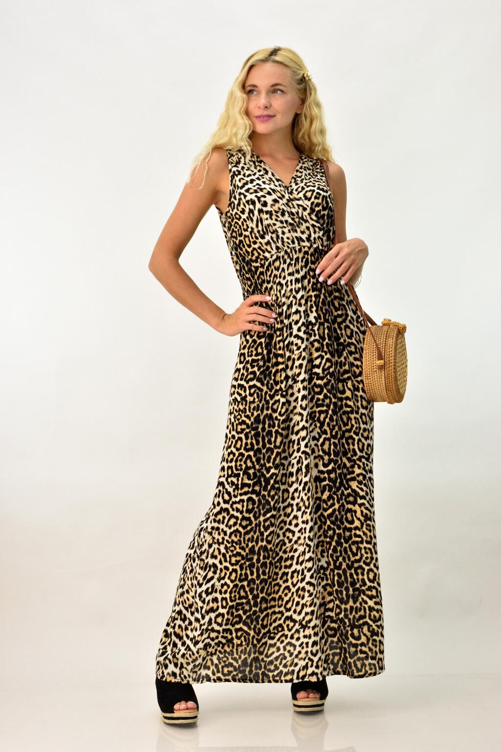 4e8e5b2065f Μακρύ κρουαζέ φόρεμα animal print | Καθημερινά Φορέματα | POTRE