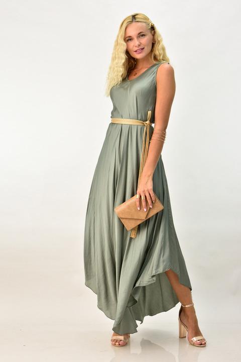 Μακρύ φόρεμα με σατέν υφή -