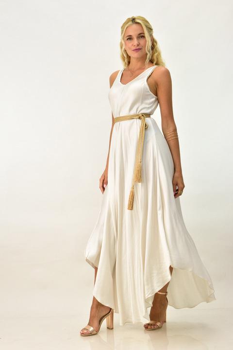 Μακρύ φόρεμα με σατέν υφή  - Λευκό