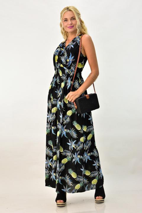 Μακρύ εμπριμέ κρουαζέ φόρεμα - Μαύρο
