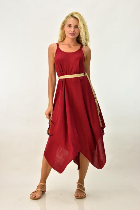 Γυναικείο φόρεμα με μύτες - Μπορντώ