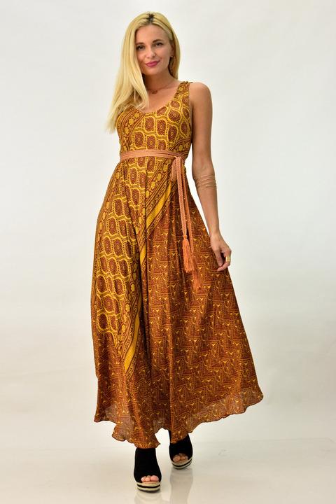 Μπόχο φόρεμα με άνοιγμα στη πλάτη - Κανελί