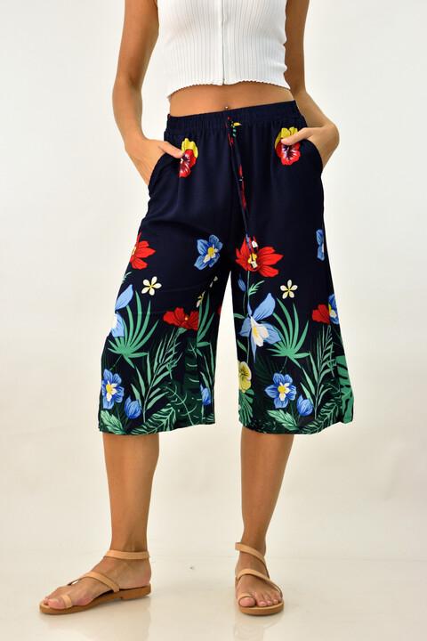 Γυναικεία παντελόνα ζιπ κιλότ φλοράλ - Μπλε Σκούρο