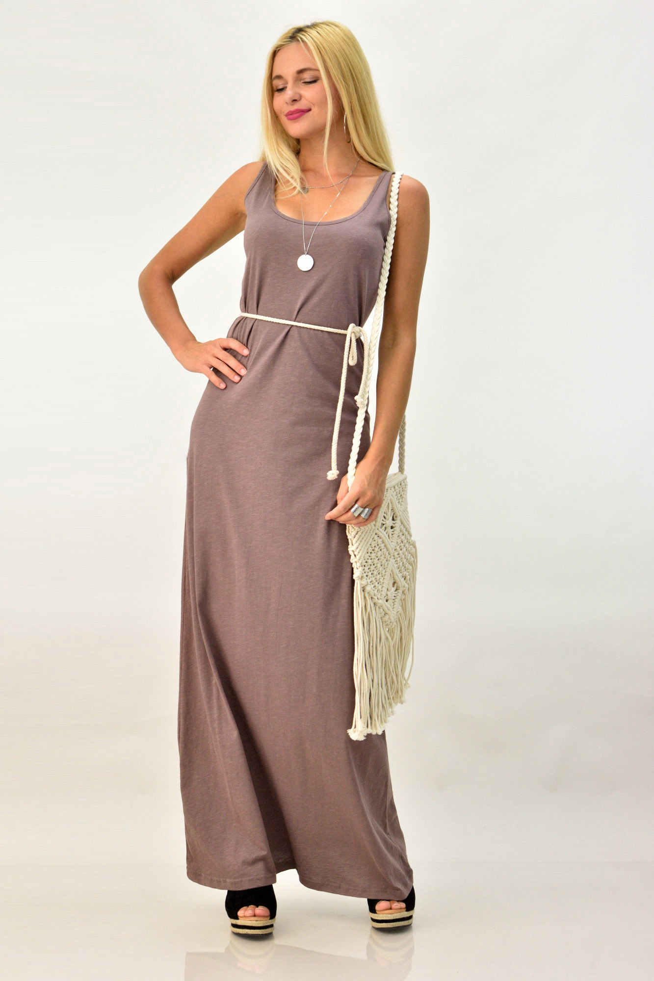 f0001a70e27 Μακρύ καθημερινό φόρεμα με άνοιγμα στη πλάτη   POTRE