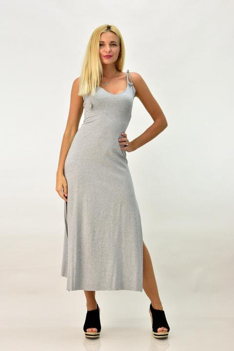 Εφαρμοστό midi φόρεμα με χιαστί στη πλάτη - Γκρι