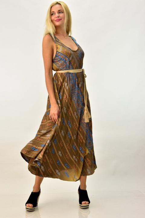 Γυναικείο φόρεμα boho με ανοιχτή πλάτη - Μπεζ