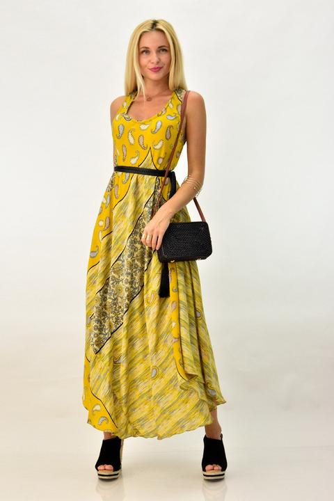 Boho φόρεμα με άνοιγμα στη πλάτη - Κίτρινο