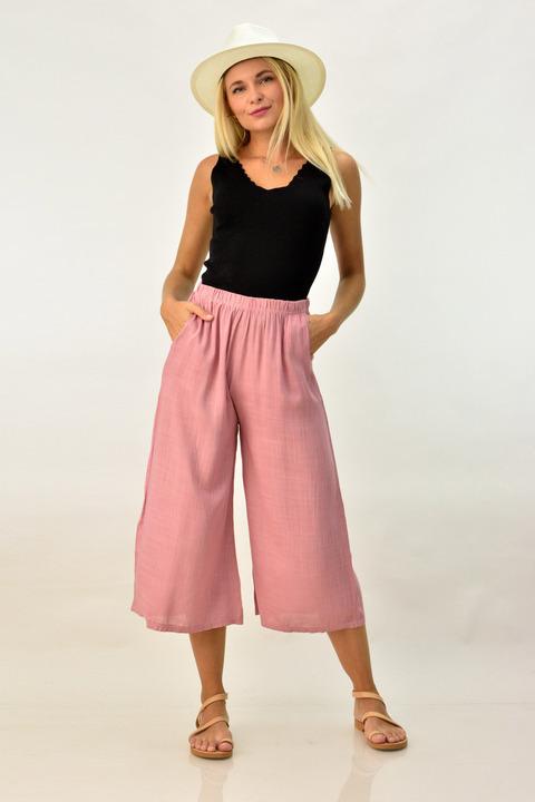 Λινή παντελόνα ζιπ κιλότ - Απαλό Ροζ