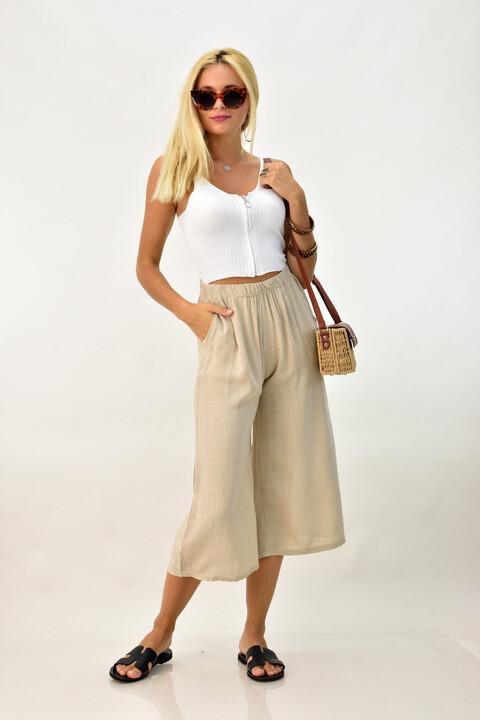 Λινή παντελόνα ζιπ κιλότ - Μπεζ