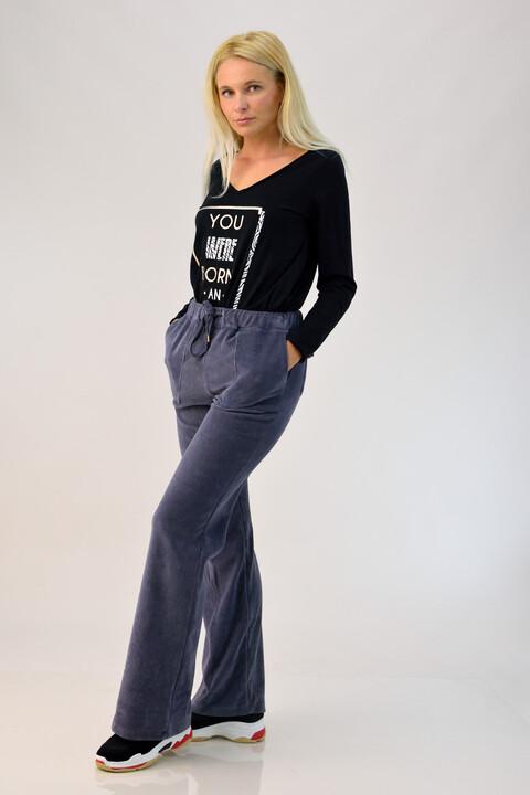 Παντελόνι βελουτέ ανθρακί - Ανθρακί