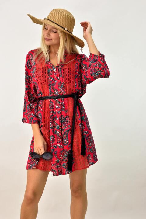 Εμπριμέ μίνι φόρεμα για θάλασσα - Κόκκινο