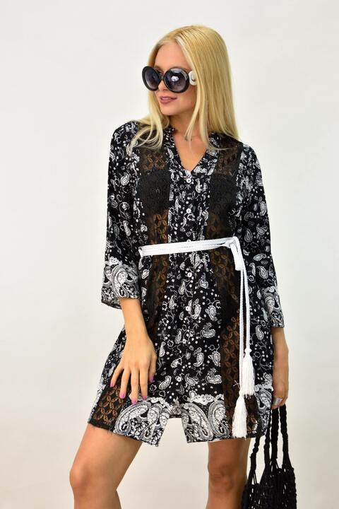 Μίνι φόρεμα για θάλασσα με ημιδιαφάνεια - Μαύρο