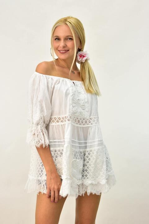 Κοντό φόρεμα για θάλασσα με δαντέλα - Λευκό